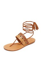 Soludos Flat Lace Up Sandals Tan