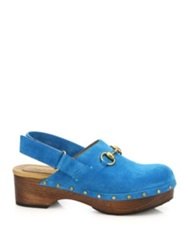 Gucci Suede Studded Clogs Taupe Red Blue
