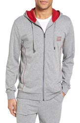 Boss Men's Authentic Cotton Zip Hoodie Grey Red