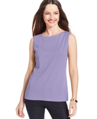 Karen Scott Sleeveless Boat Neck Tank Top Lilac Sachet