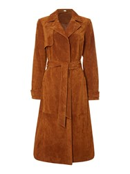 Therapy Suede Trench Coat Tan