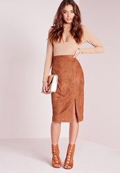 Missguided Thigh Split Faux Suede Midi Skirt Mocha Brown Brown