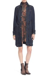 Free People Single Breasted Denim Trench Coat Indigo