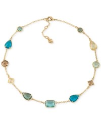 Carolee Gold Tone Multi Crystal Collar Necklace