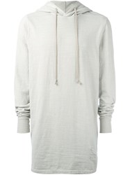 Rick Owens Drkshdw Long Length Hoodie Grey