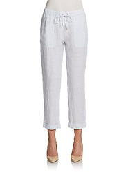 Saks Fifth Avenue Blue Cropped Linen Drawstring Pants Baby Blue