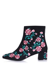 Topshop Blossom Embroidery Boots Black