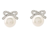 Betsey Johnson Crystal Rhodium Pearl Bow Stud Earrings Crystal Earring Gray