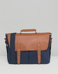 Asos Satchel In Canvas And Faux Leather Navy