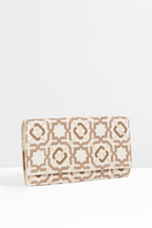 Sep Embroidered Tonal Clutch Bag Beige