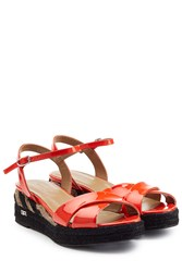 Sonia Rykiel Patent Leather Sandals With Raffia Red