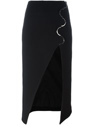 David Koma Slit Detail Skirt Black