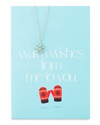 Lydell Nyc Snowflake Necklace With Warm Wishes Card Silver