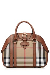 Burberry Shoes And Accessories Check Print Milverton Tote With Leather Trim Multicolor