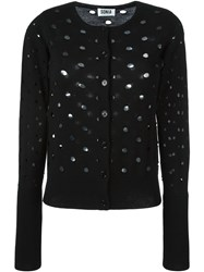 Sonia By Sonia Rykiel Perforated Ribbed Sleeve And Waist Button Down Cardigan Black