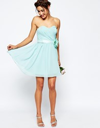 Asos Wedding Chiffon Mini Bandeau Dress With Detachable Corsage Belt Blue