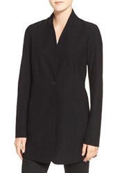 Eileen Fisher Petite Women's Washable Stretch Crepe Stand Collar Jacket Black