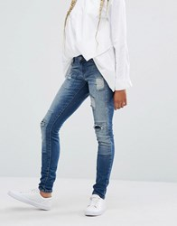 Noisy May Eve Slim Patch Jeans Mid Wash Blue