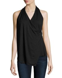 Three Dots Erica Faux Wrap Jersey Tank Black