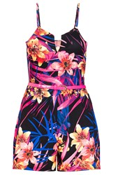 Quiz Tropical Print Belt Playsuit Multi Coloured