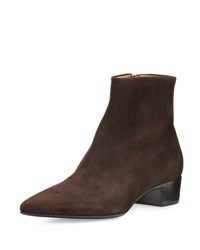 The Row Ambra Kid Suede Ankle Boot Dark Brown