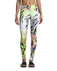Peony Zebra Print Performance Leggings Yellow Pattern