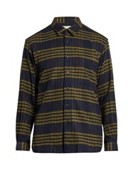 Tomorrowland Long Sleeved Checked Cotton Shirt Navy Multi