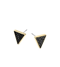 Michael Kors Black Pave Triangle Stud Earrings Gold