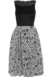 Holly Fulton Embellished Wool And Printed Silk Crepe Dress Black