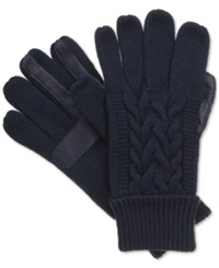 Isotoner Signature Touchscreen Enabled Solid Triple Cable Knit Palm Gloves Navy