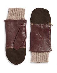 Echo Leather And Wool Convertible Gloves Red
