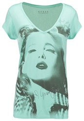 Guess Print Tshirt Green Abyss Mint