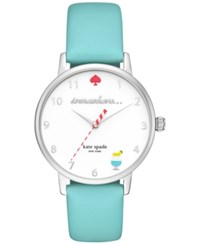 Kate Spade New York Women's Metro Island Turquoise Leather Strap Watch 34Mm Ksw1104 Silver
