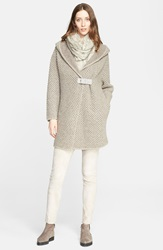Fabiana Filippi Hooded Honeycomb Boucle Knit Cardigan Beige