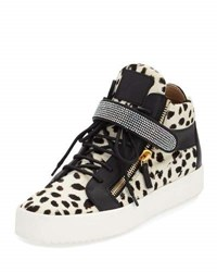 Giuseppe Zanotti Calf Hair Mid Top Sneaker W Swarovski Band Black White