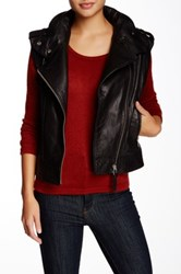 Mackage Rea Colorblock Moto Leather Vest Black