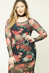 Forever 21 Plus Size Floral Mesh Top Black Red