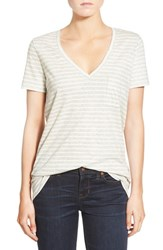 Women's Madewell 'Whisper' Stripe Cotton V Neck Pocket Tee