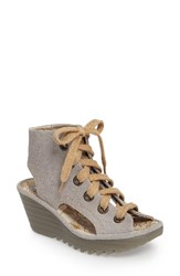 Fly London Women's Yaba Lace Up Platform Wedge Concrete Suede
