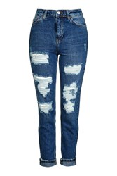 Topshop Moto Super Rip Indigo Mom Jeans Dark Blue