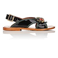 Marni Women's Jewel Embellished Slingback Sandals Black Blue Black Blue