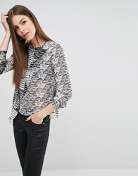 Sisley Printed Wrap Front Blouse 63L Black