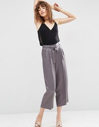 Asos Premium Satin Culotte Suit Trouser Light Grey