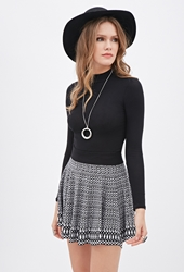 Forever 21 Abstract Patterned Knit Skater Skirt