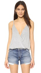 Chaser Draped Surplice Cami Heather Grey