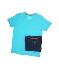 Tommy Bahama Solid Stretch Cotton Comfort V Neck T Shirt 2 Pack Aqua Neptune Men's T Shirt Multi