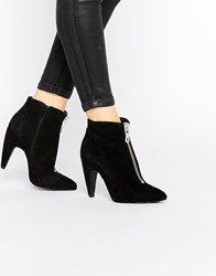 Bronx Suede Heeled Ankle Boots Black Suede