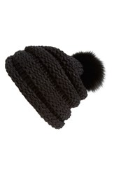 Women's Dena Genuine Fox Fur Pompom Knit Beanie