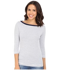 Three Dots Anne 3 4 Sleeve British Tee White Navy Women's Long Sleeve Pullover