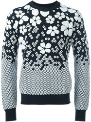 Dsquared2 Floral Intarsia Jumper Blue
